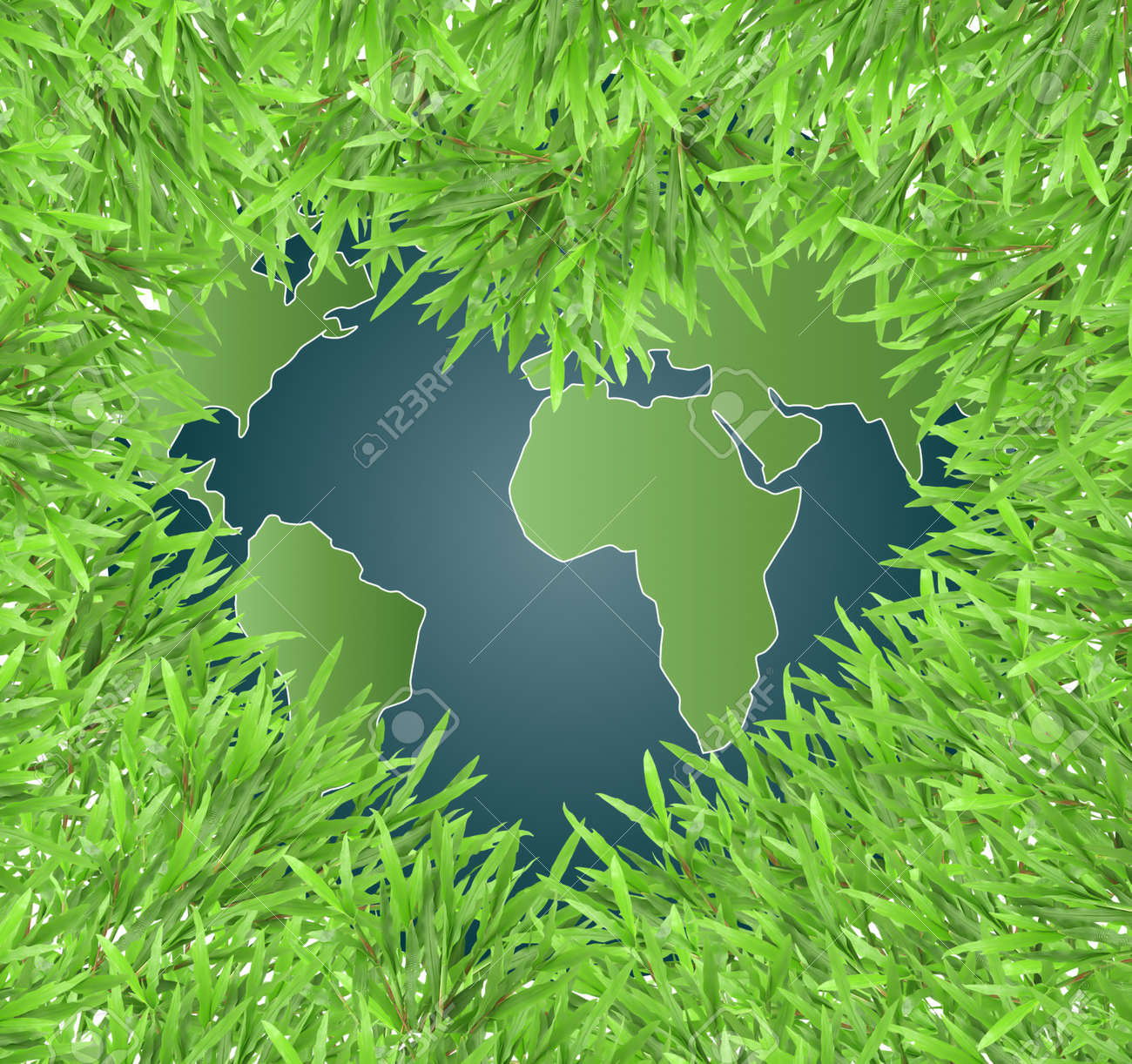 isolated green heart grass photo frame with   globe Stock Photo - 10798727