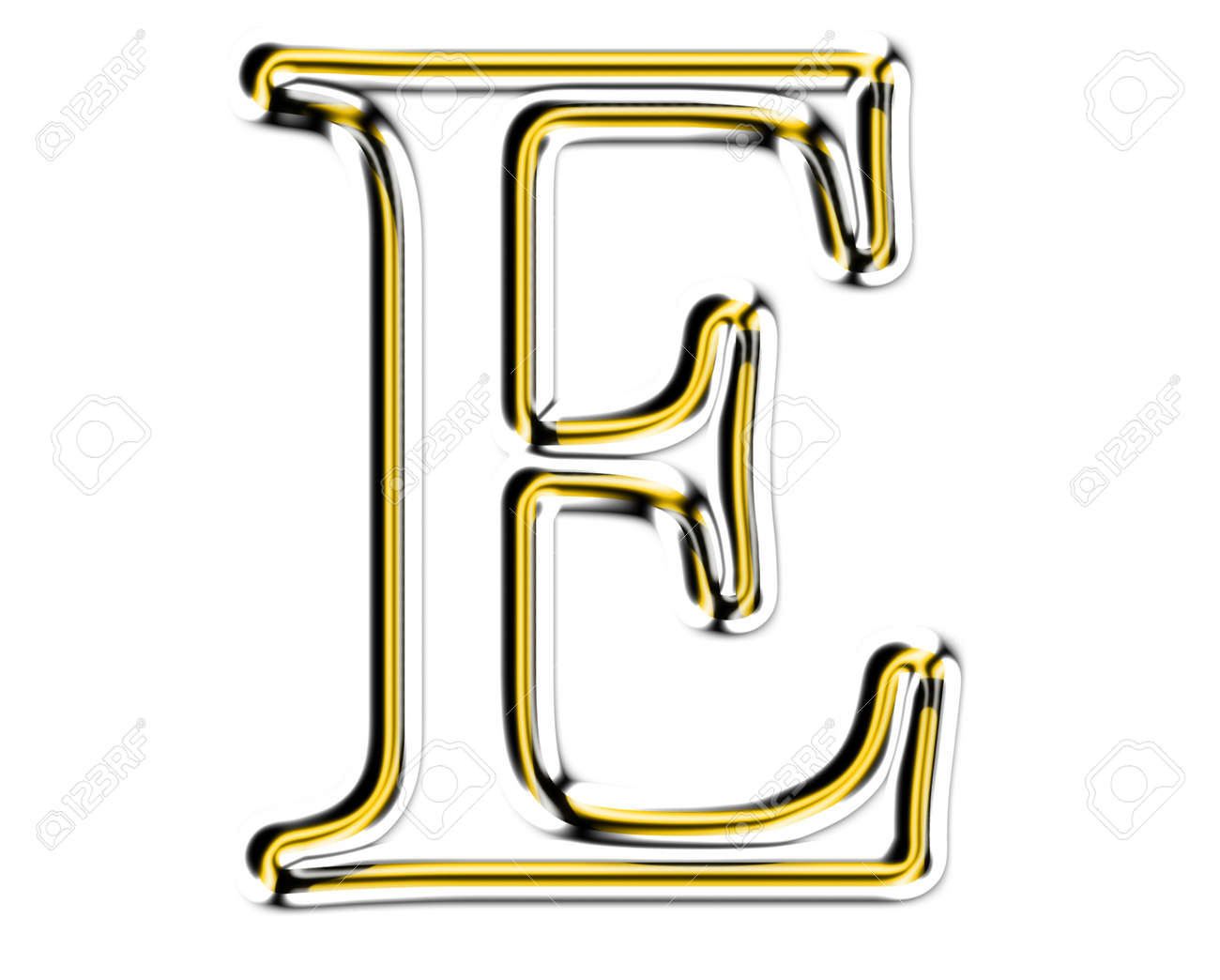 Letter E from metal solid alphabet. Stock Photo - 11507349