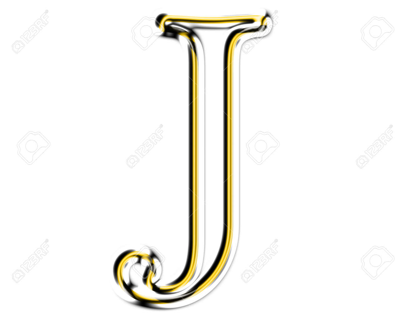 Letter J  from metal solid alphabet. Stock Photo - 11507340