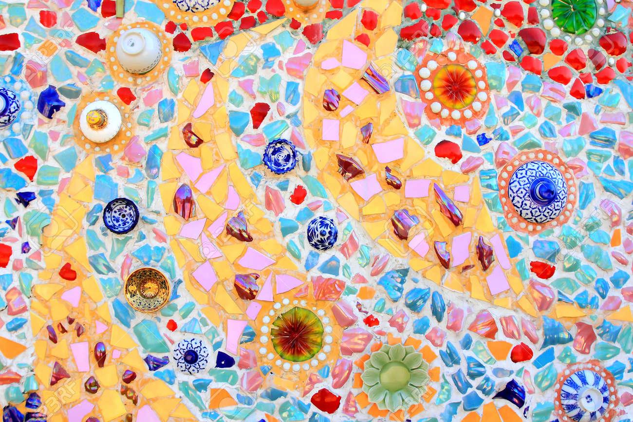 mosaic wall decorative ornament from ceramic broken tile Stock Photo - 11755198