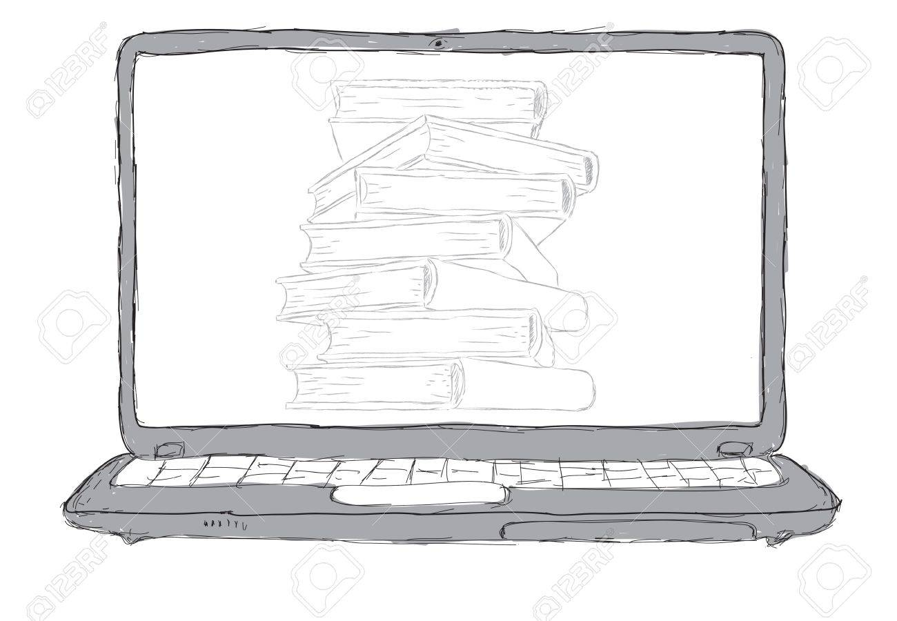 sketch Laptop with books and blank display Stock Photo - 12403172