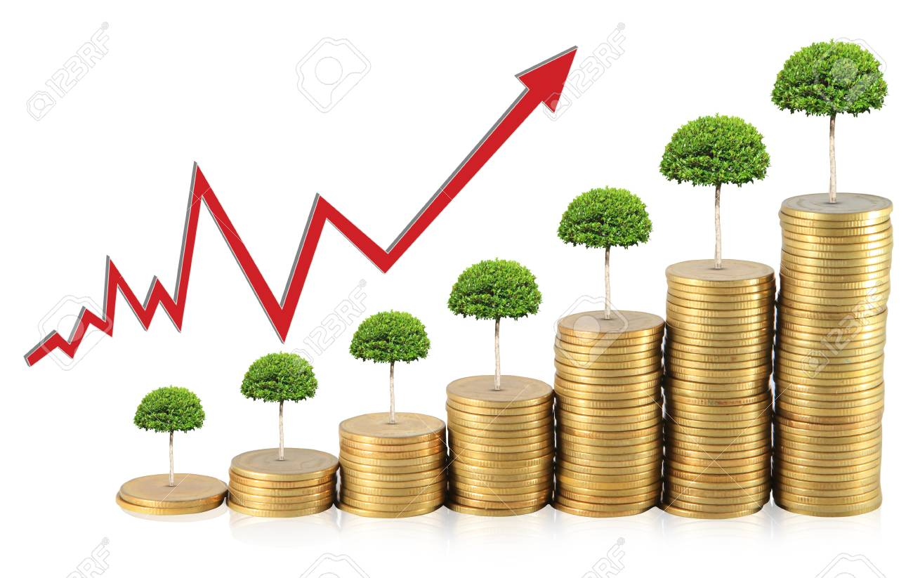 Financial graph with coins Stock Photo - 14061814