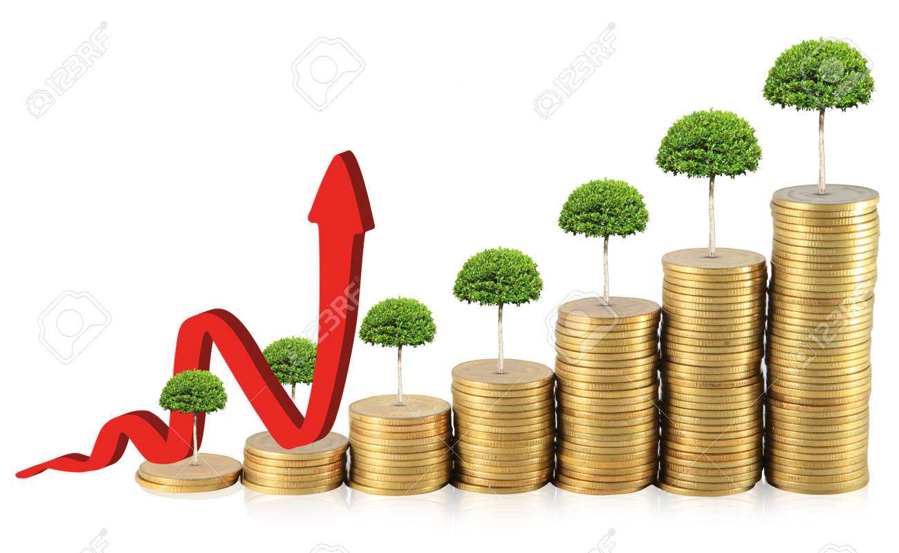 Financial graph with coins Stock Photo - 14061869
