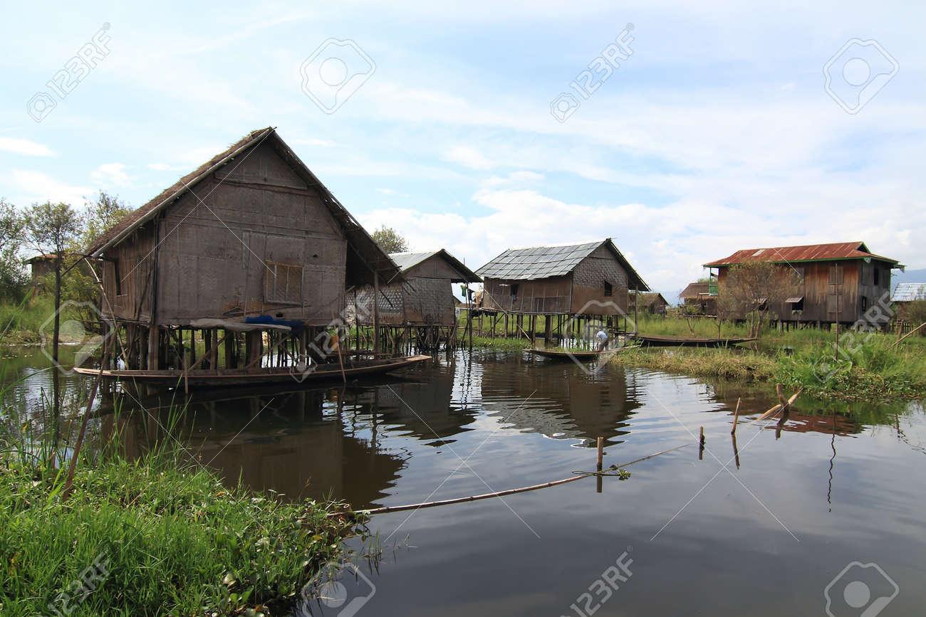 Houses at Inle lake, Myanmar Stock Photo - 16475064