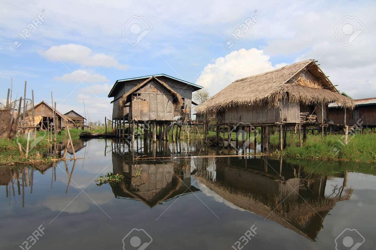 Houses at Inle lake, Myanmar Stock Photo - 16475011
