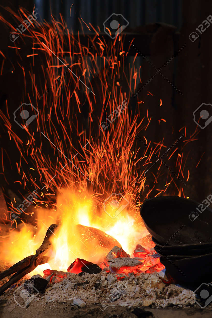 forge fire in blacksmith u0027s where iron tools are crafted stock
