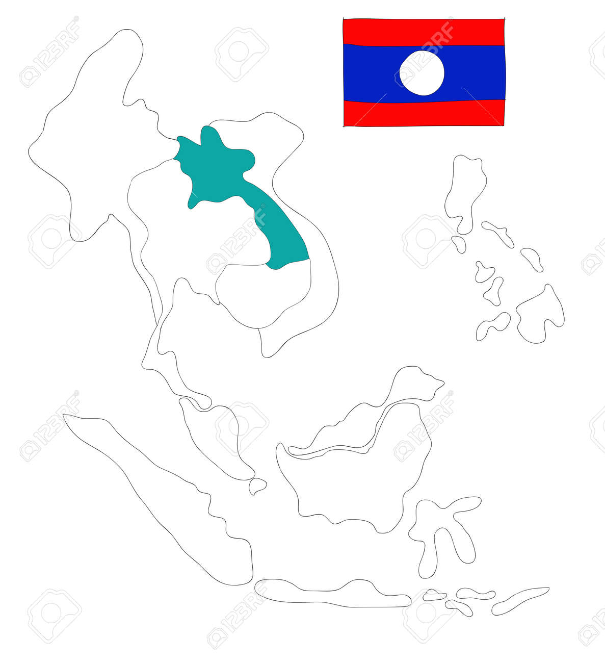 drawing  map of South East Asia countries that will be member of AEC with Laos flag symbol Stock Photo - 17576546