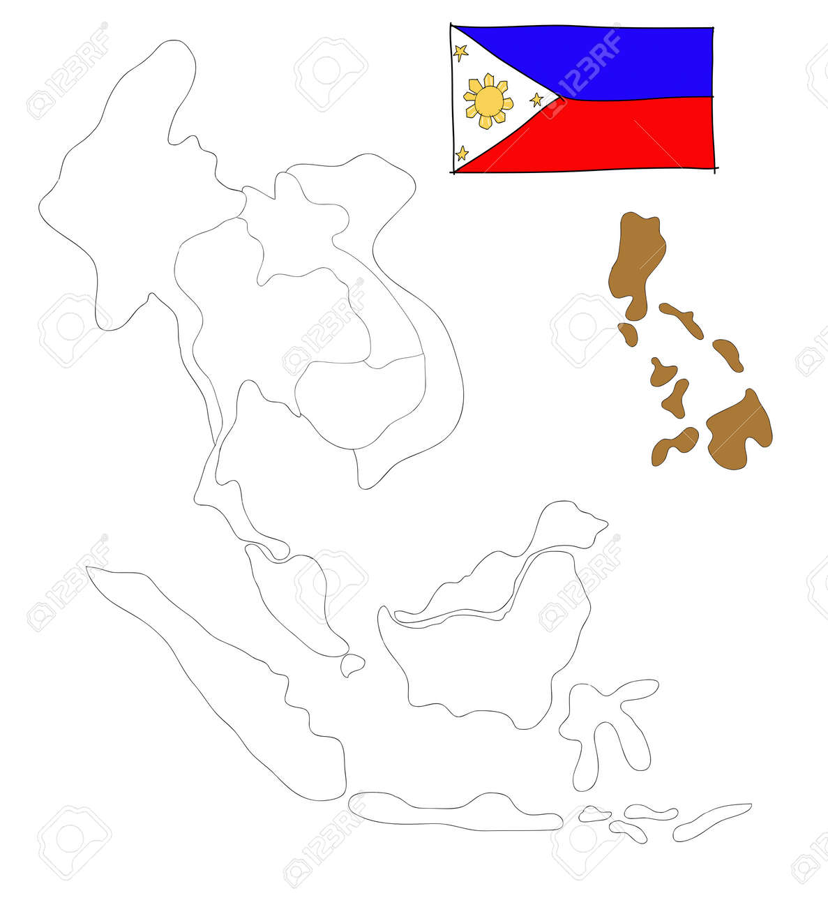 Drawing Map Of South East Asia Countries That Will Be Member Of AEC With  Philippines Flag