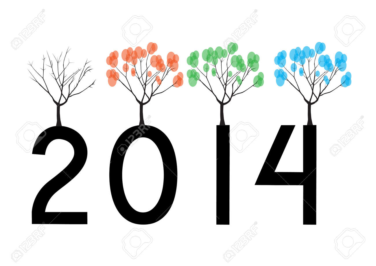 Cute card on 2014 year with abstract tree in four seasons Stock Vector - 21634478