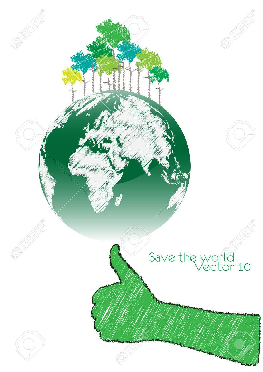 Hand Save The Earth Conceptual  vector illustration Stock Vector - 22456072