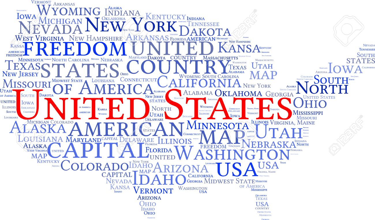 USA State Map Tag Cloud Vector Illustration Royalty Free Cliparts - State map of us ohio to colorado