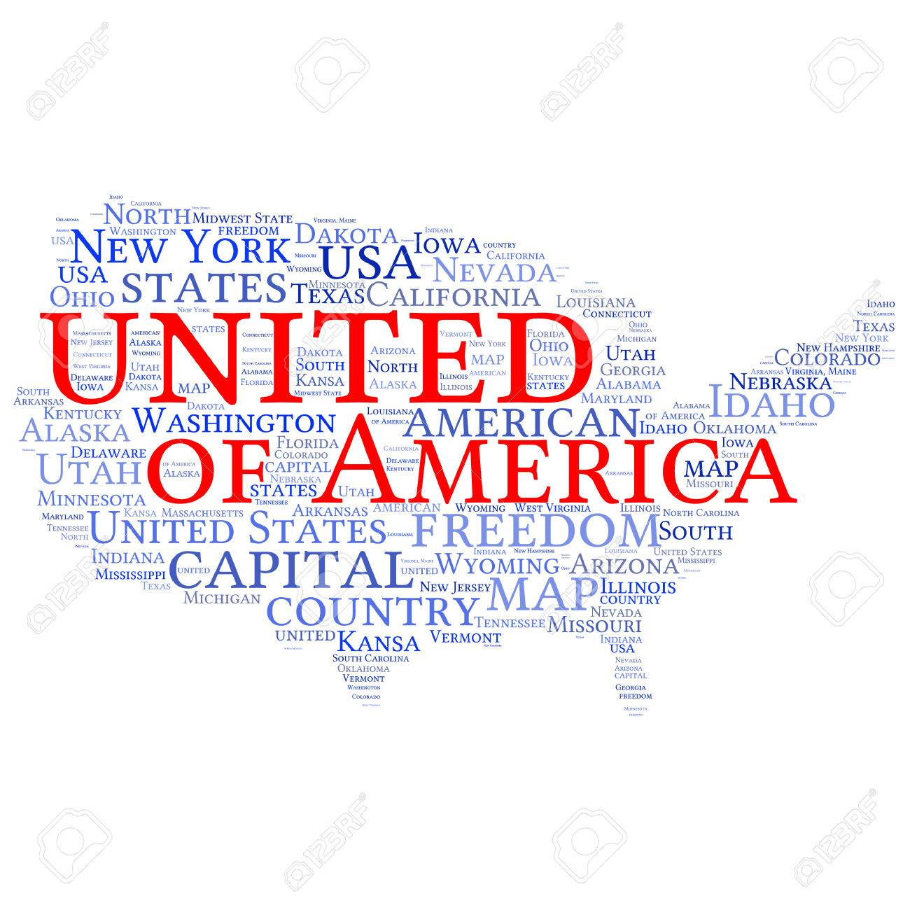 USA State Map Tag Cloud Vector Illustration Royalty Free Cliparts - South jersey map usa