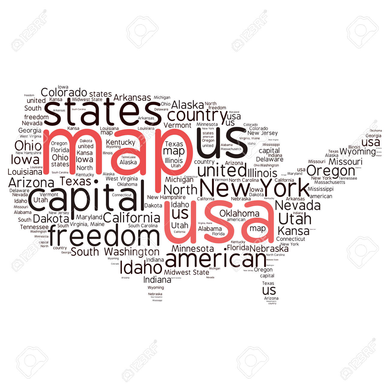 USA State Map Tag Cloud Vector Illustration Royalty Free Cliparts ...
