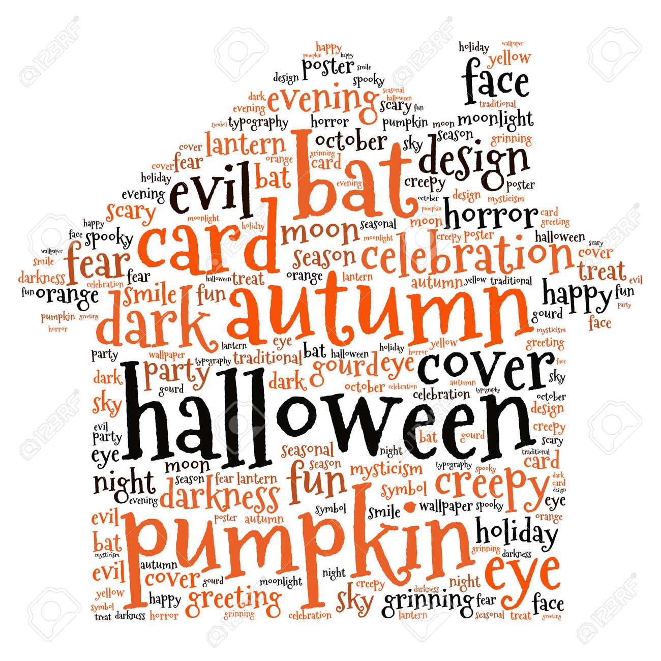 halloween words background vector stock vector 45490040 - Words About Halloween