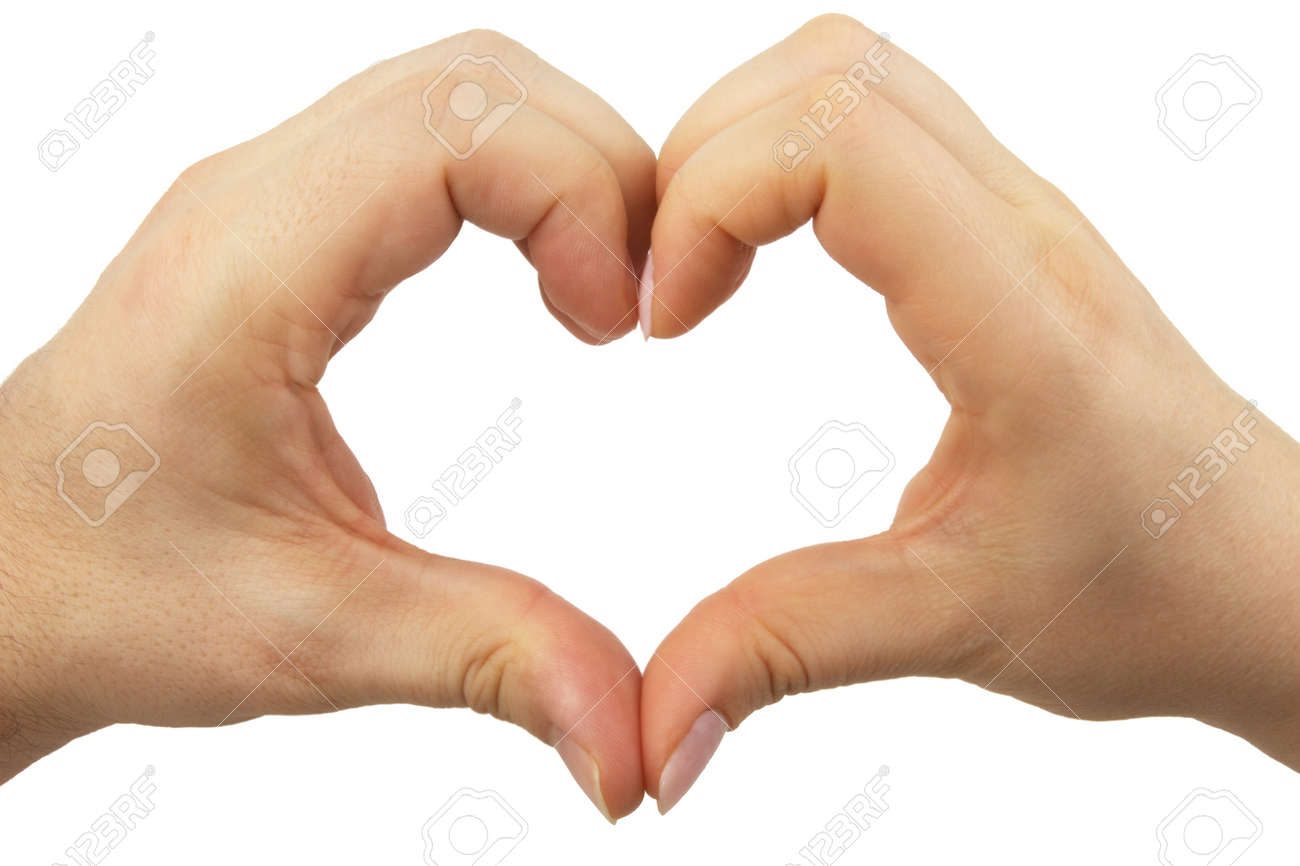 Hands in the shape of a heart made by female male partners Stock Photo - 11929528