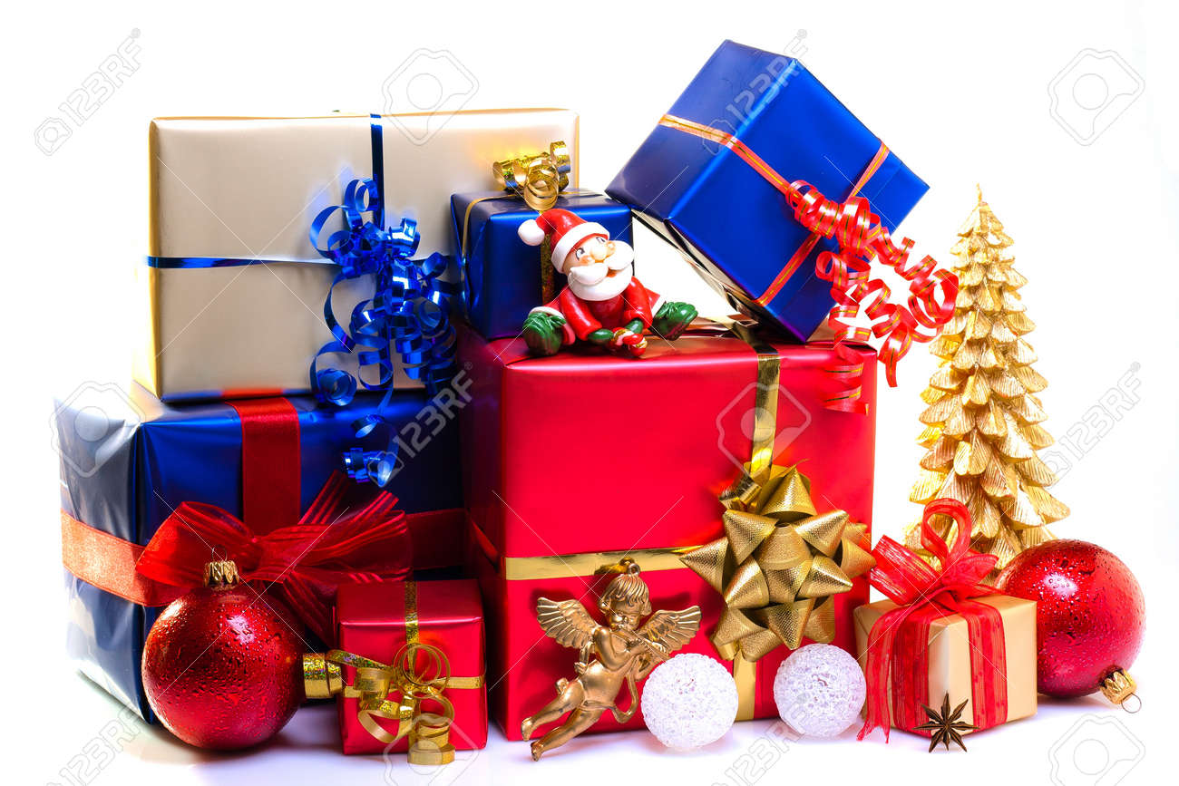 christmas gift boxes decorated for christmas stock photo picture