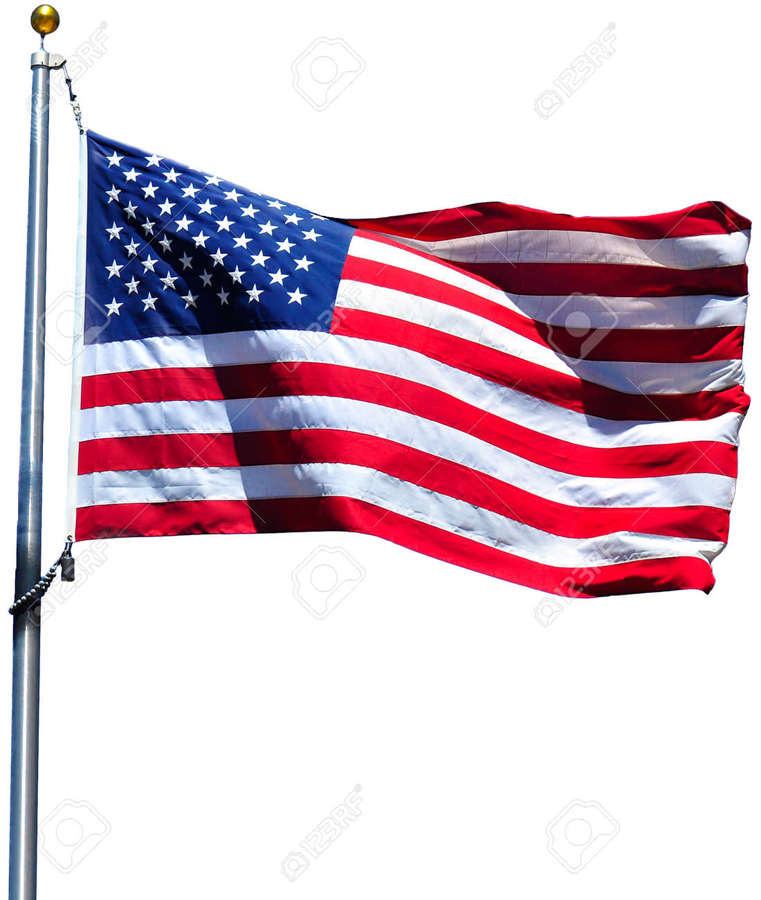American flag waving in the wind, isolated Stock Photo - 10352512