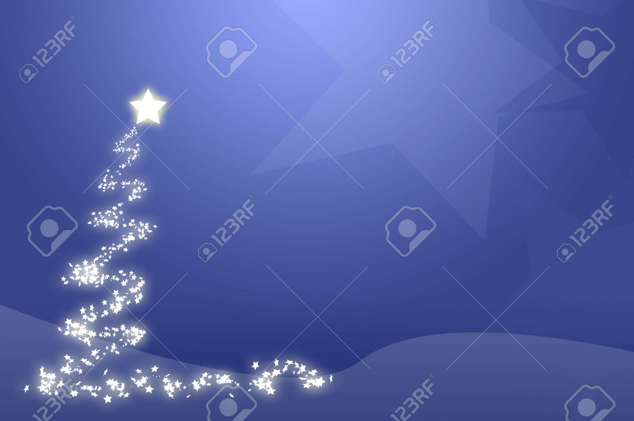 Blue christmas tree wallpaper, computer generated.