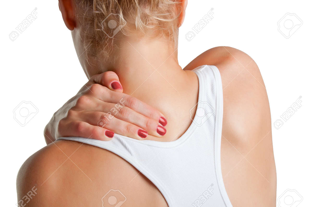 Young woman with pain in the back of her neck, isolated in a white background Stock Photo - 17450153