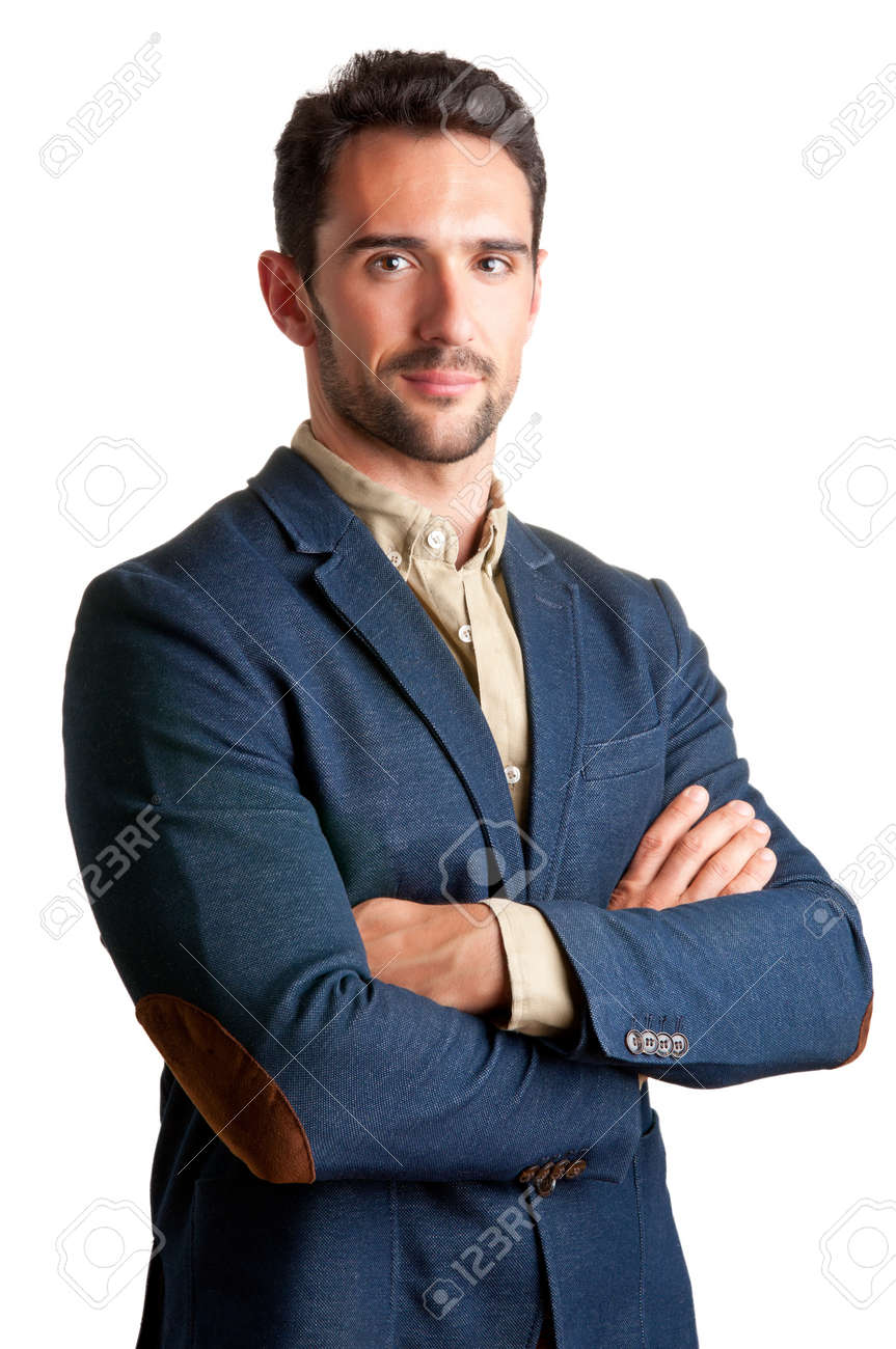 Casual business man with arms crossed in a white background Stock Photo - 19978474
