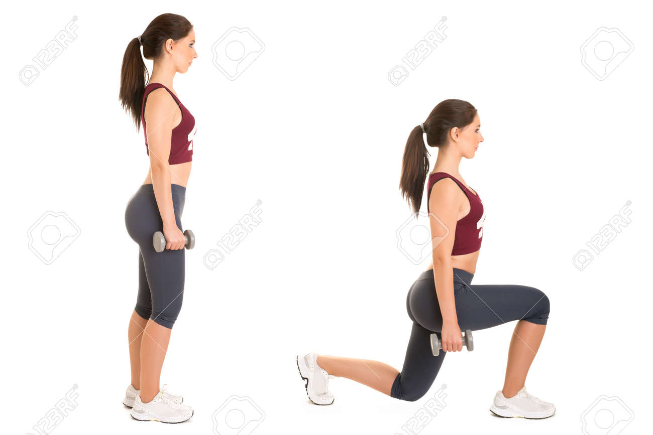 Woman doing lunges isolated in a white background Stock Photo - 32723365