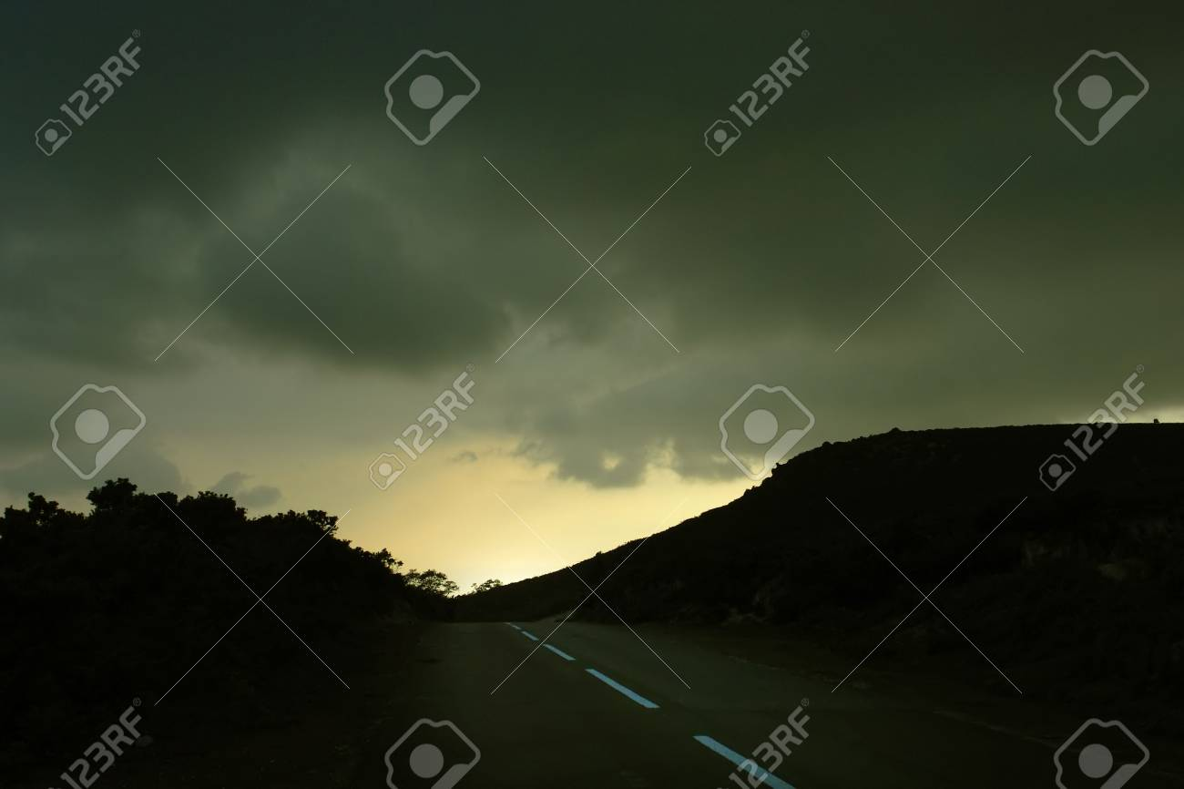 road in the mountains at sunset Stock Photo - 703876