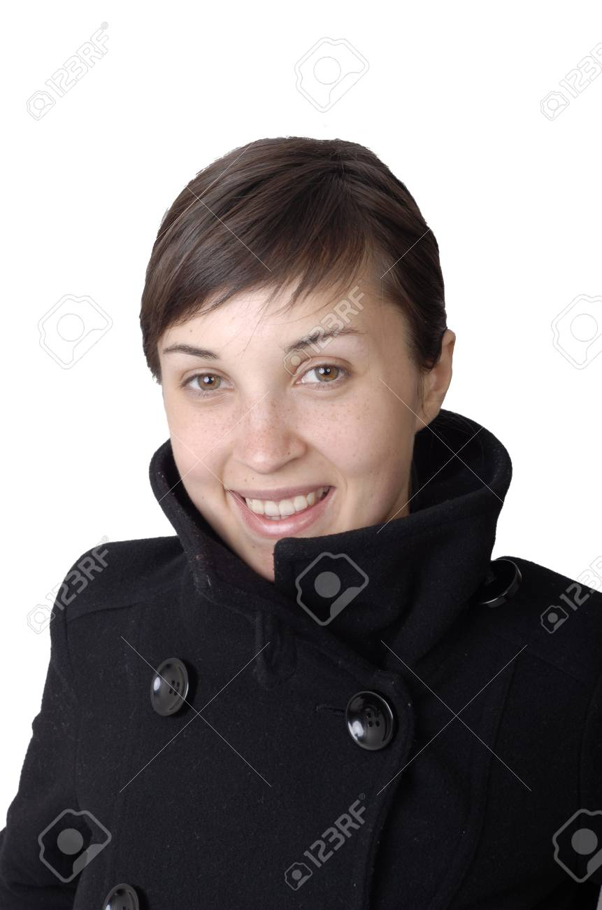 girl smile white teeth over white background Stock Photo - 1592259