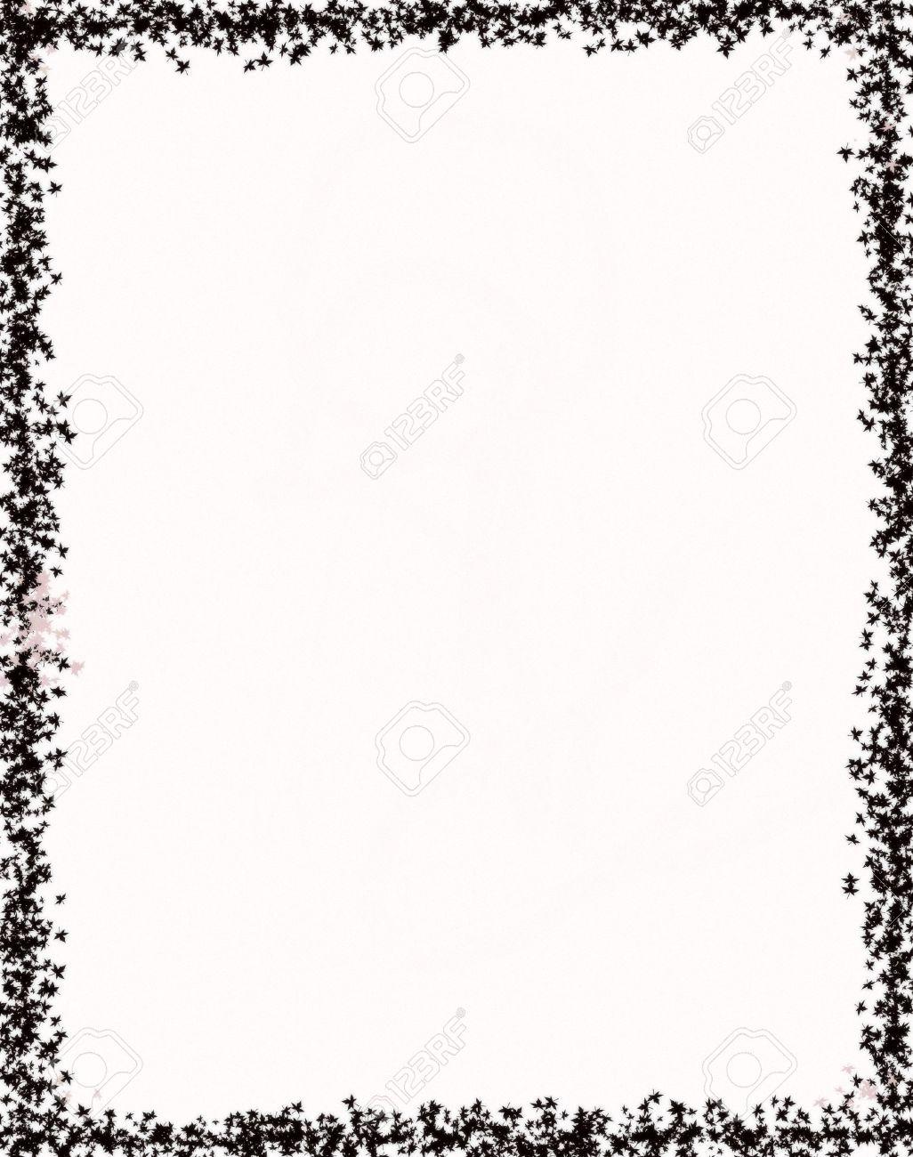 Très Decorative Cadre, Noir Sur Blanc Des Feuilles De Papier Banque D  WW63