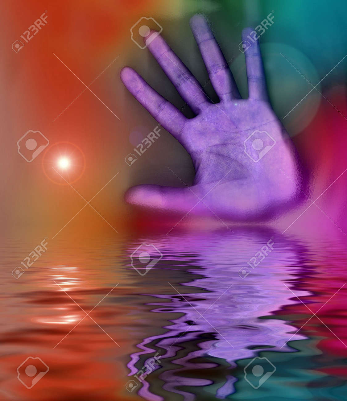an computer generated hand with water reflection Stock Photo - 2159124