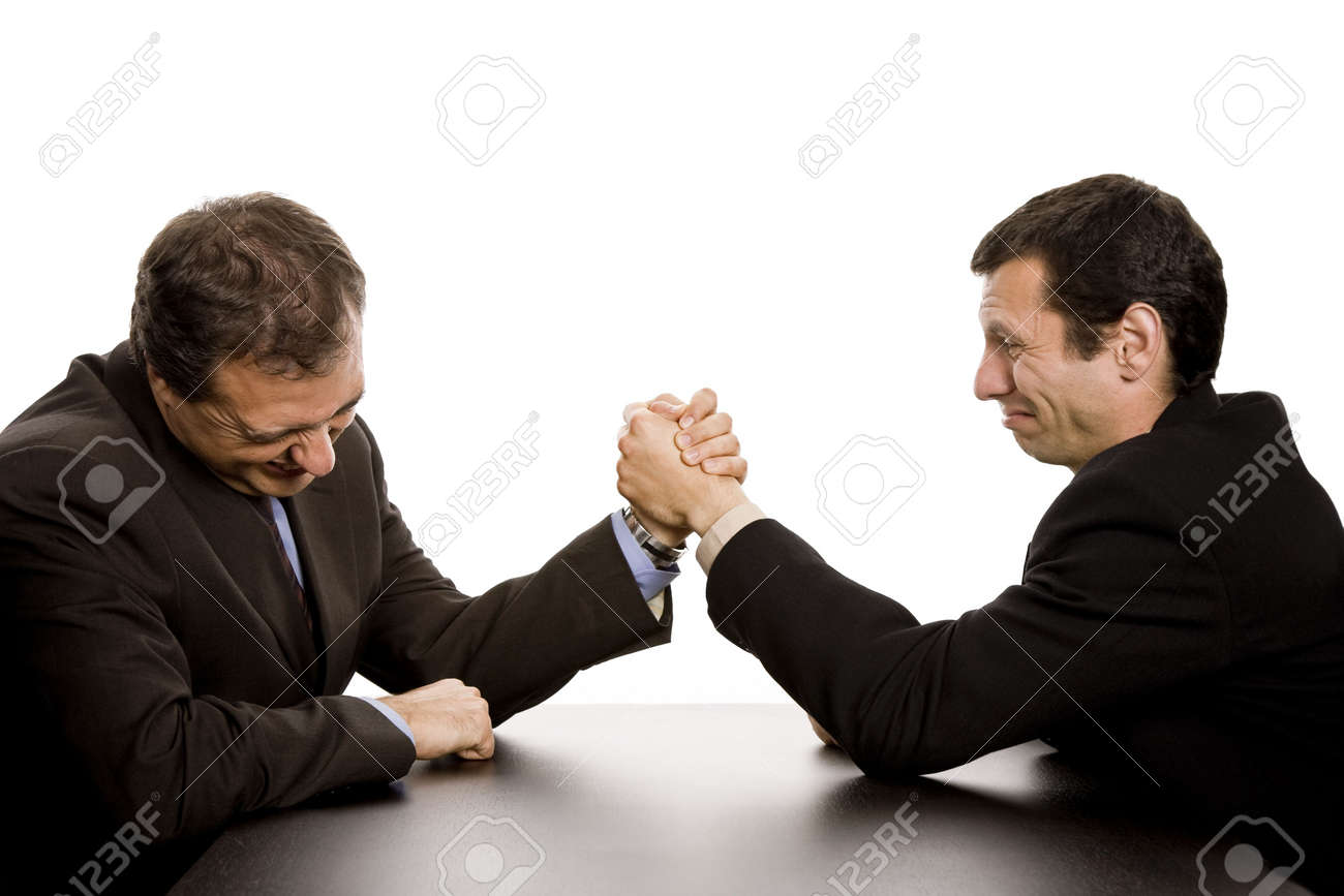 two business men wrestling isolated on white background Stock Photo - 3277307