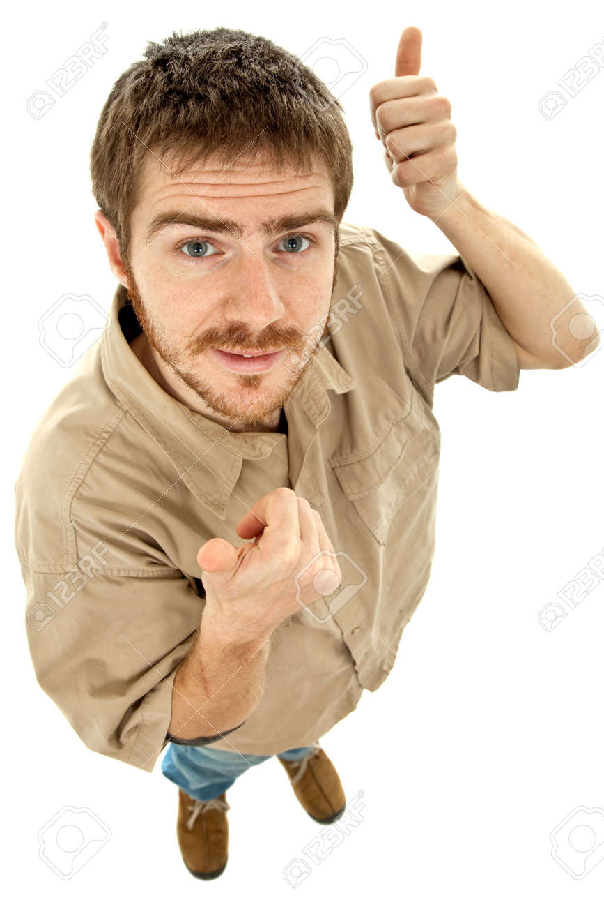 young casual man going thumbs up in a white background Stock Photo - 5446366