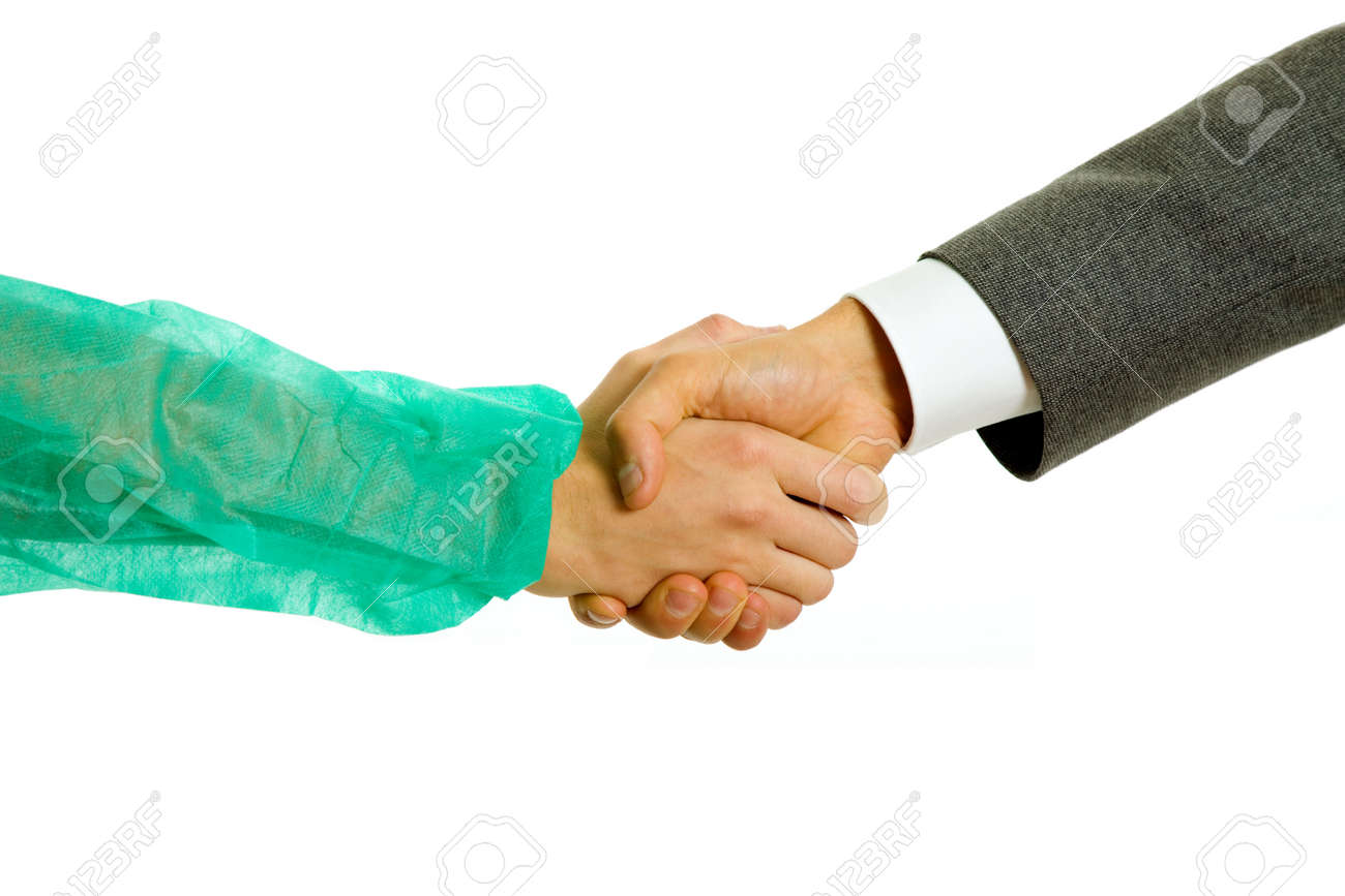 Business men and doctor hand shake in white background Stock Photo - 6687116