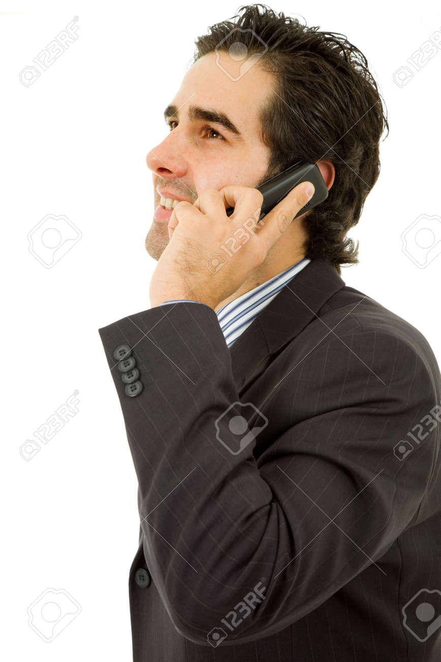 young business man on the phone, isolated Stock Photo - 7835268