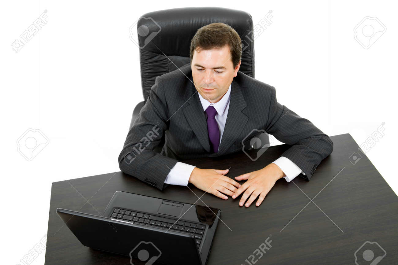 young business man working with is laptop, isolated Stock Photo - 8248278