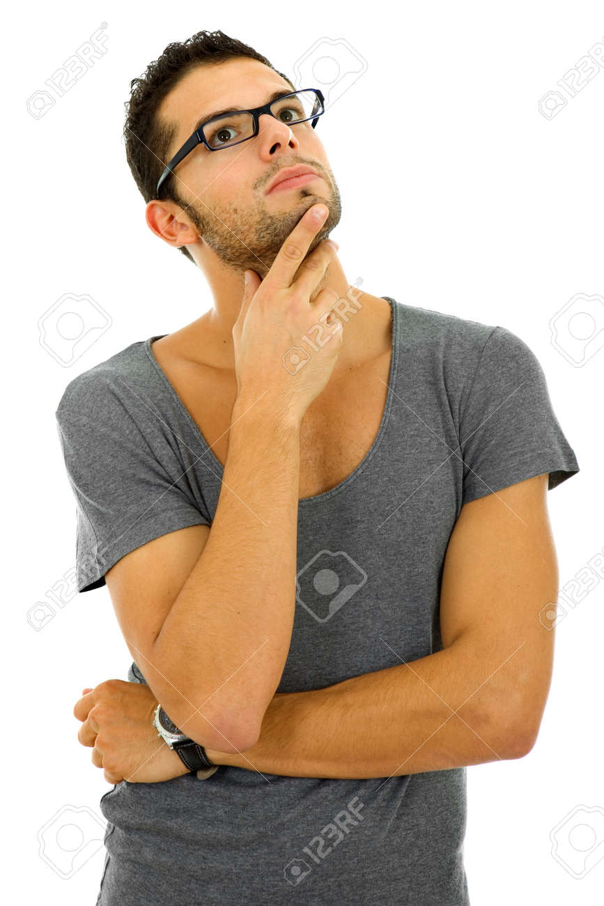 studio picture of a pensive young man, isolated on white Stock Photo - 8323029