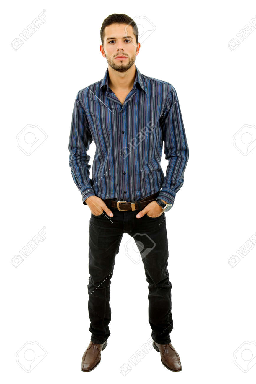 young casual man full length in a white background Stock Photo - 8336147