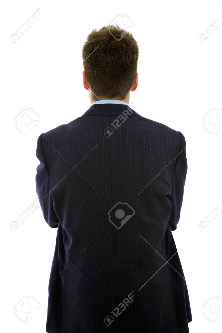 young businessman from behind, isolated on white Stock Photo - 8409053