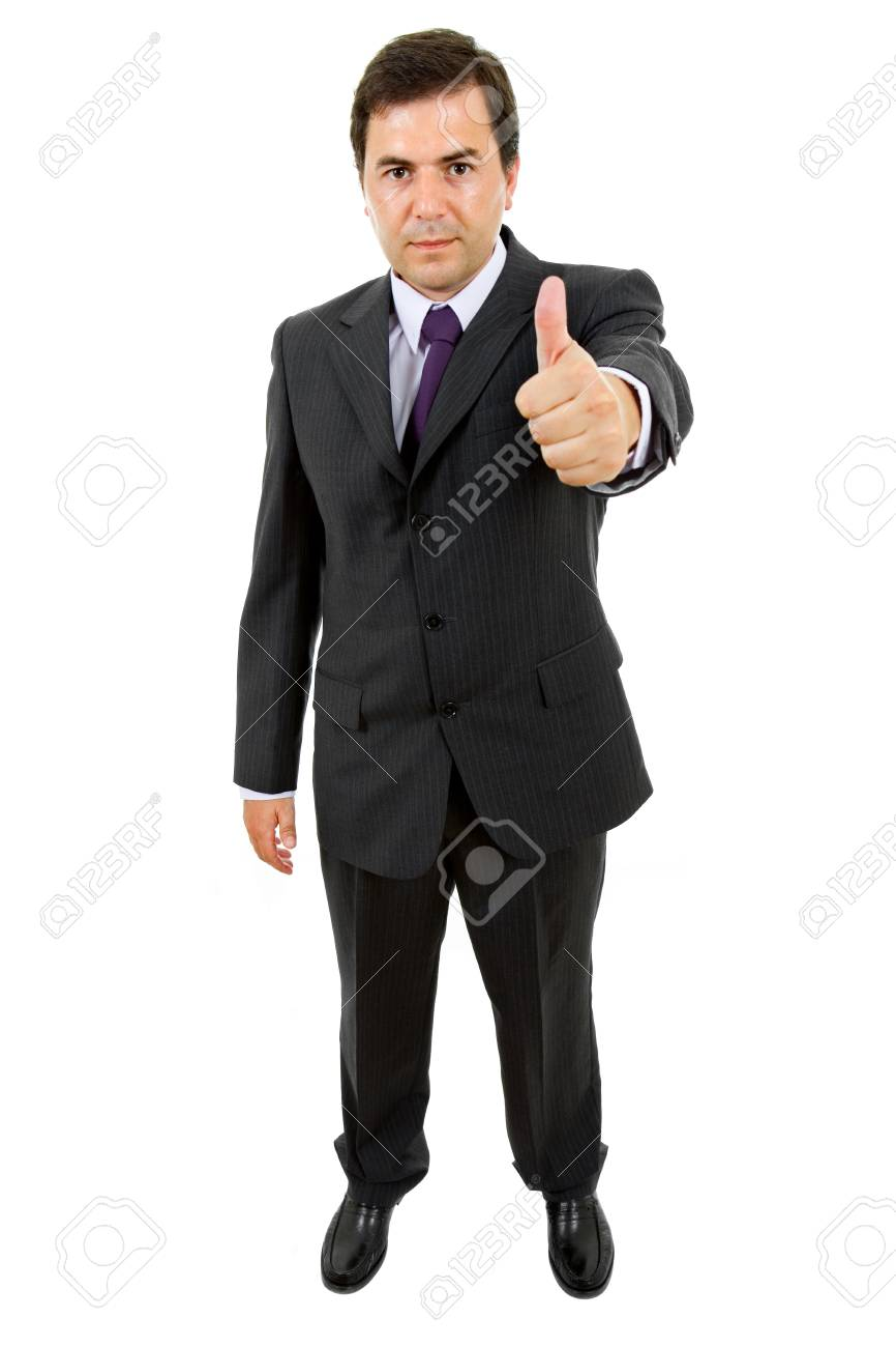 business man going thumb up, isolated on white Stock Photo - 8450334