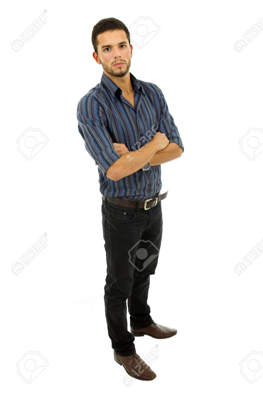 young casual man full body in a white background Stock Photo - 8597341