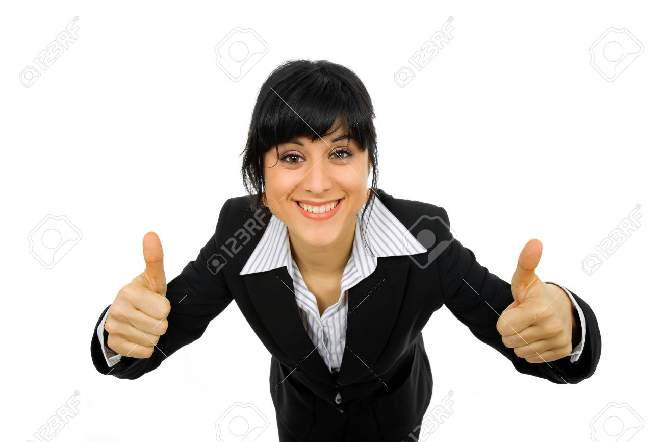 young business woman portrait going thumbs up, isolated on white background Stock Photo - 8852058