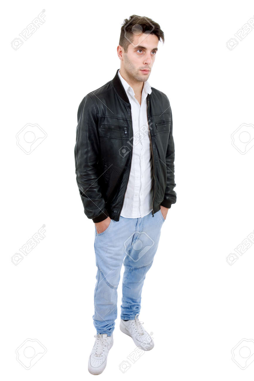 1cff52fdf5a Young Casual Man Full Body In A White Background Stock Photo ...