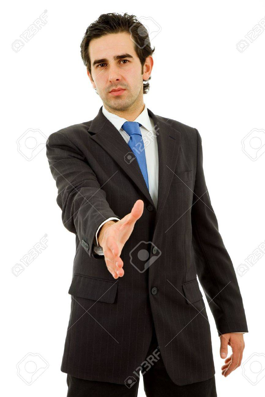young man in suit offering to shake the hand Stock Photo - 9499121