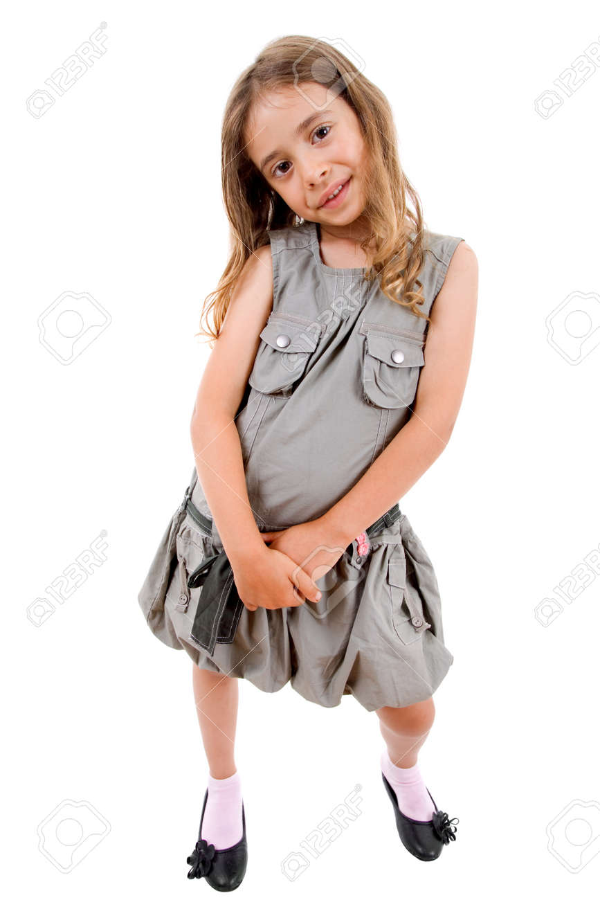 young happy girl full body, isolated on white Stock Photo - 10331252
