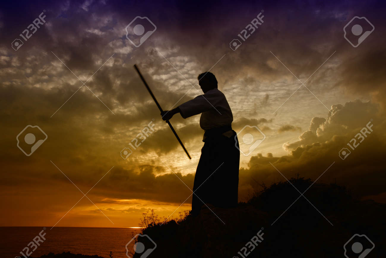 young aikido man fighter at sunset light Stock Photo - 10587373