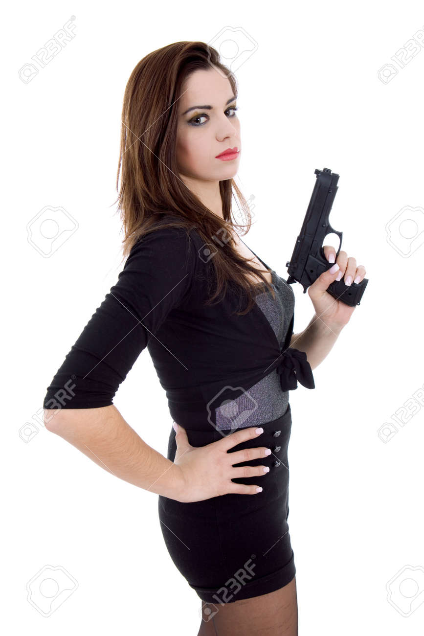 young beautiful woman with a gun, isolated Stock Photo - 10731248