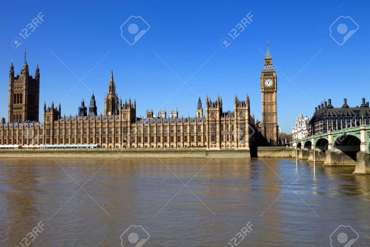 London view, Big Ben, Parliament, bridge and river Thames Stock Photo - 11178296