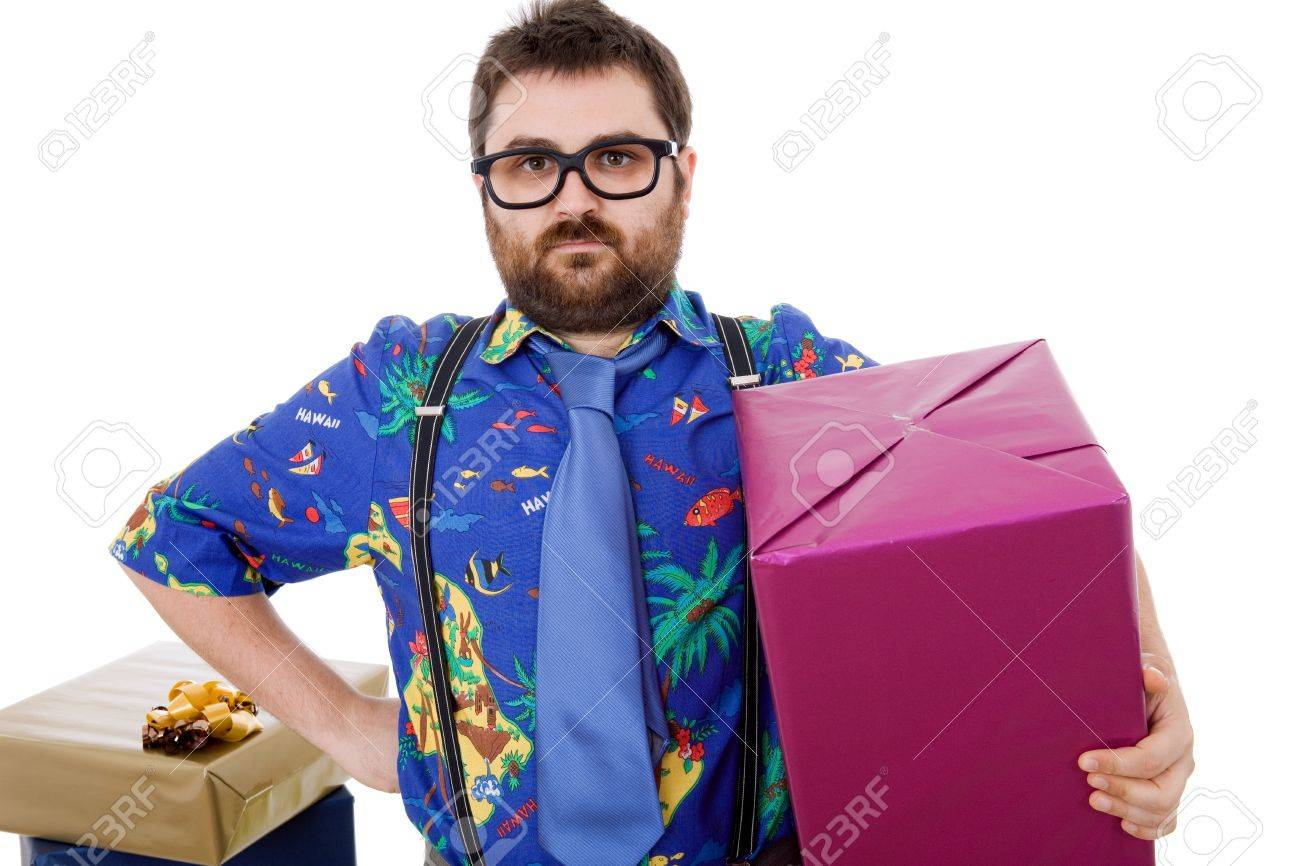happy silly salesman with some boxes, isolated on white Stock Photo - 13568370