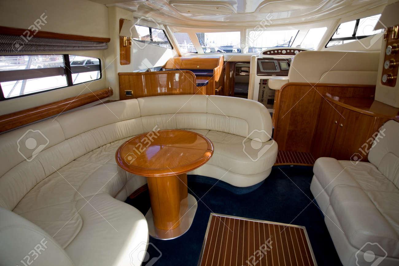 Small Luxury Cabin Interior - Inside of a luxury boat beautiful cabin interior stock photo 13887347
