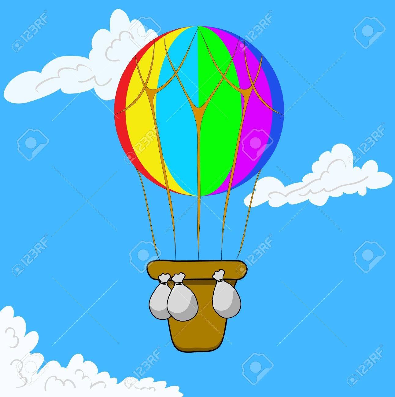 Multicolor Hot Air Balloon in blue sky. Vector illustration eps 10 Stock Vector - 9244066