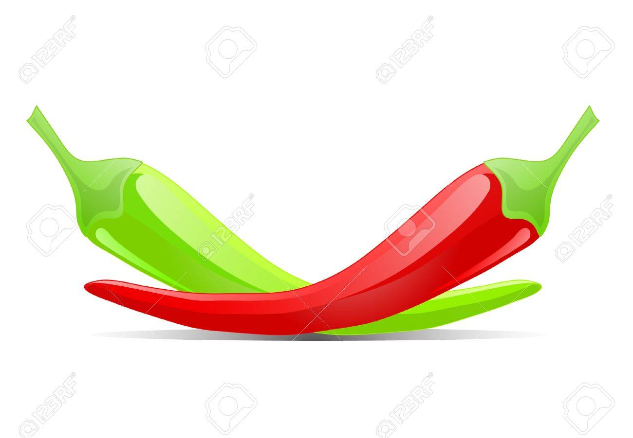 red and green chilly peppers. Stock Vector - 10030287